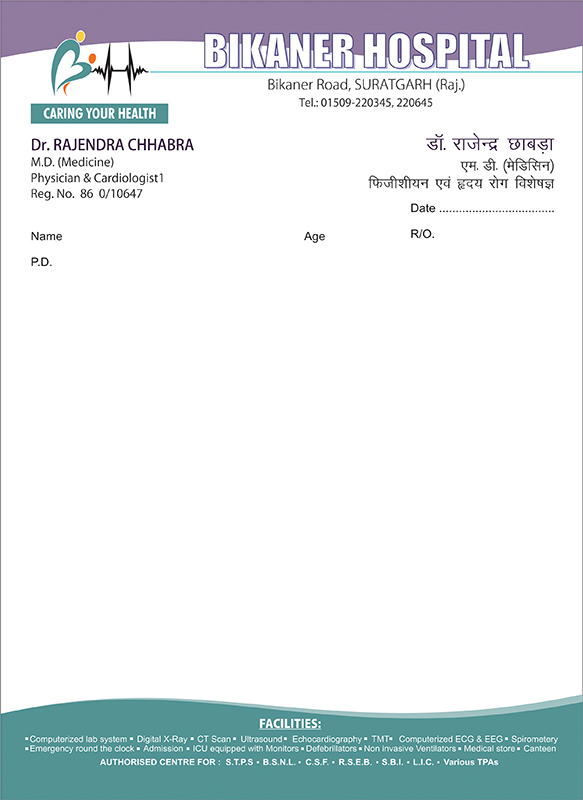 Bikaner Hospital Prescription Pad
